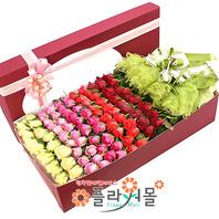 천년의 사랑 100송이 장미_ 대형장미꽃상자 기념일 이벤트 꽃선물 플라워몰