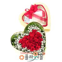 [당일배송]그대 기다리는 마음♡ 하트장미꽃상자 생일 기념일 꽃선물_전국 당일꽃배달서비스_명품꽃배달[플라워몰]