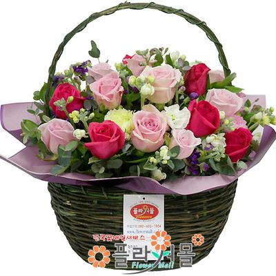 [당일배송]보고싶어♡ 핑크 장미 꽃바구니 꽃다발 생일 기념일 꽃선물_전국 당일꽃배달서비스_명품꽃배달[플라워몰]