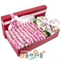 사랑하기 좋은날 100송이 장미_ 분홍장미꽃상자 백송이 기념일 꽃선물 플라워몰