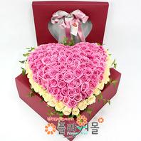 사랑느낌 장미 100송이_ 꽃상자 분홍장미백송이 기념일 꽃배달 플라워몰