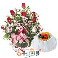 러빙유 꽃바구니와 케익