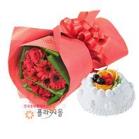 Q첫사랑 꽃다발과케익