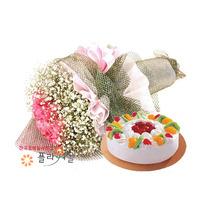 순수 꽃다발과케익