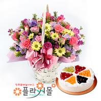 소망편지 꽃바구니와 케익