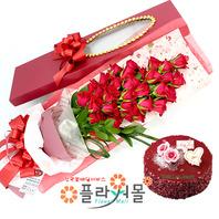 [꽃과케익 당일배송]자꾸자꾸 좋아져♡ 장미꽃다발 꽃상자 생일 기념일 꽃선물 꽃배달당일배송_ 전국꽃배달 전문[플라워몰]