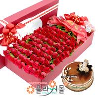 오직너만이(100송이) 꽃상자와 케익