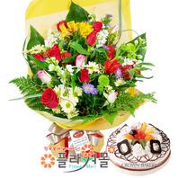 축하합니다, 꽃다발과 케익