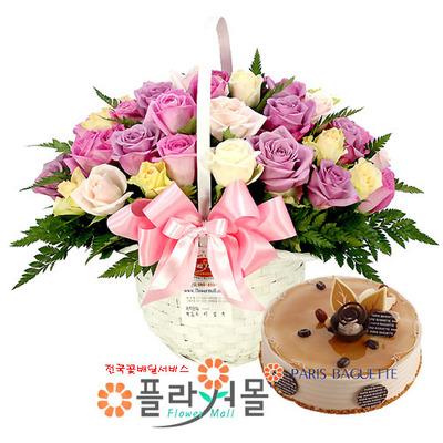 고백 꽃바구니와 케익
