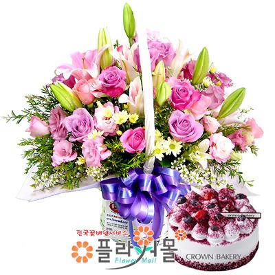 [꽃과케익 당일배송]또 보고싶어♡ 장미 혼합 꽃바구니 꽃다발 생일 기념일 꽃선물 케잌배달_ 전국 당일꽃배달서비스_명품 전국꽃배달케익배달[플라워몰]