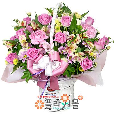 [당일배송]행복한 사랑을드려요♡ 장미 꽃바구니 꽃다발 생일 기념일 꽃선물_꽃배달당일배송_명품 전국꽃배달_[플라워몰]