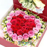 [당일배송]그리운 마음으로♡ 하트장미꽃상자 생일 기념일 꽃선물_전국 당일꽃배달서비스_명품꽃배달[플라워몰]