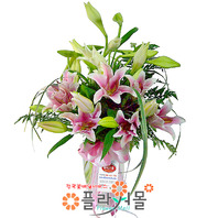 [당일배송]고귀한 사랑(꽃병)♡ 백합꽃다발 꽃병 생일 기념일 꽃선물_전국 당일꽃배달서비스_명품꽃배달[플라워몰]