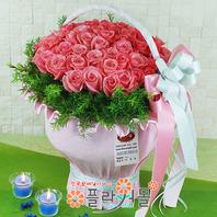 핑크드림 50송이 대형꽃바구니 생일 꽃선물_ 전국꽃배달_[플라워몰]