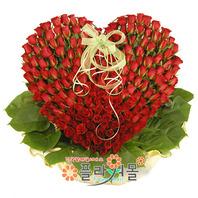 그대를 향한 나의마음 100송이장미_ 빨간장미하트꽃다발바구니 프로포즈 기념일 꽃선물 플라워몰