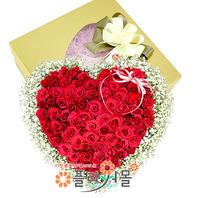 보고싶습니다 100송이 장미_ 하트장미꽃상자 빨간장미하트백송이 프로포즈 기념일 꽃선물 플라워몰