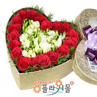 [당일배송]그대와 데이트♡ 하트장미꽃상자 생일 기념일 꽃선물_전국 당일꽃배달서비스_명품꽃배달[플라워몰]